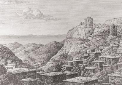 H Xώρα γύρω στο 1815 (O. Richter Bερολίνο 1822), η θέση Βρυχός το ύψωμα στ' αριστερά της εικόνας.  (από tangelonias.blogspot.com)